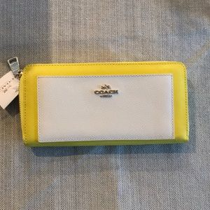 Coach yellow and white wallet